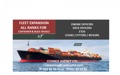 FLEET EXPANSION ALL RANKS FOR  CONTAINER & BULK VESSELS